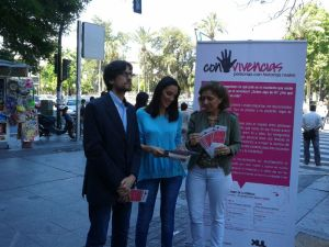 Presentación a la prensa con Verónica Martos, concejala de Cooperación; Mª Jesús Botella, Asuntos Sociales; y José Castillo, Fundación XUL.